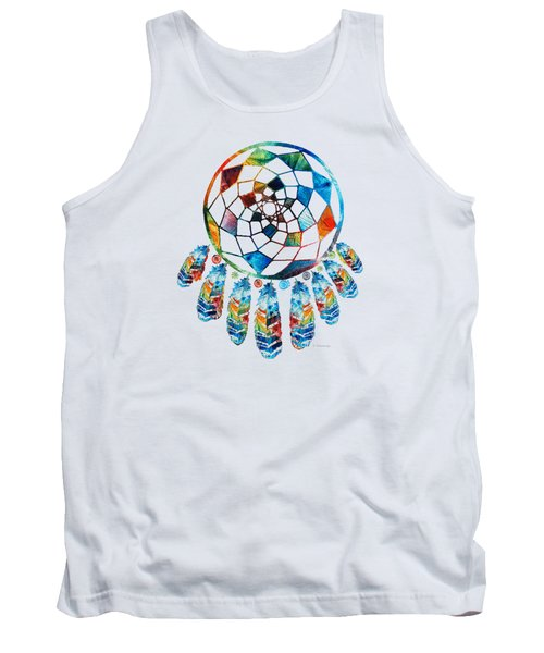 Tank Top featuring the painting Colorful Dream Catcher By Sharon Cummings by Sharon Cummings