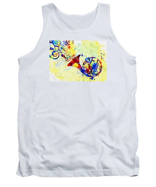 Colorful French Horn Tank Top by Olga Hamilton