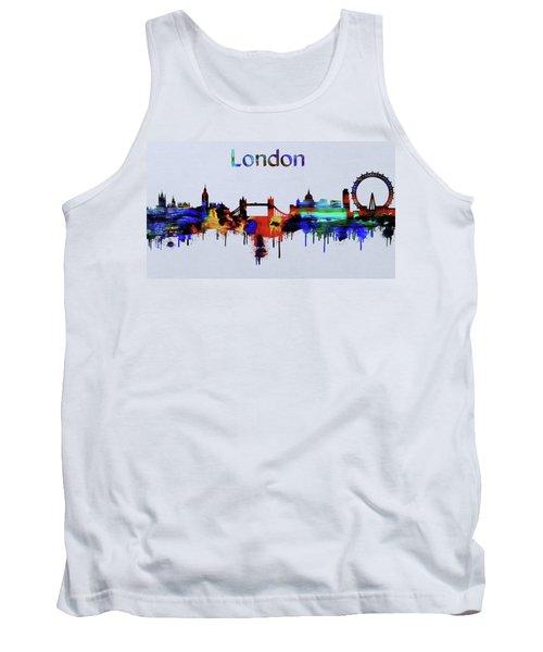 Colorful London Skyline Silhouette Tank Top
