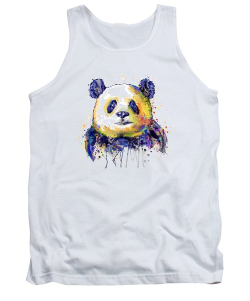 Tank Top featuring the mixed media Colorful Panda Head by Marian Voicu
