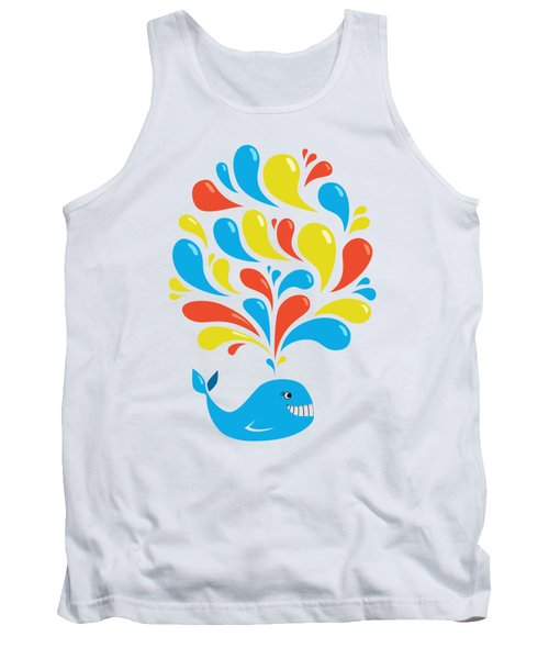 Colorful Swirls Happy Cartoon Whale Tank Top by Boriana Giormova