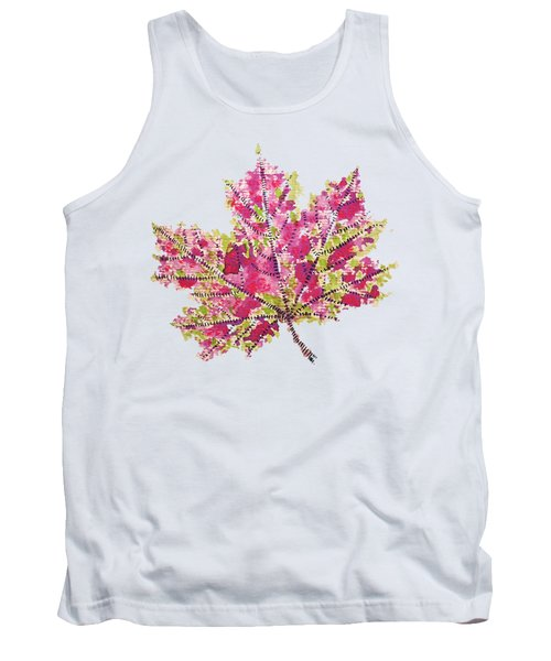 Colorful Watercolor Autumn Leaf Tank Top