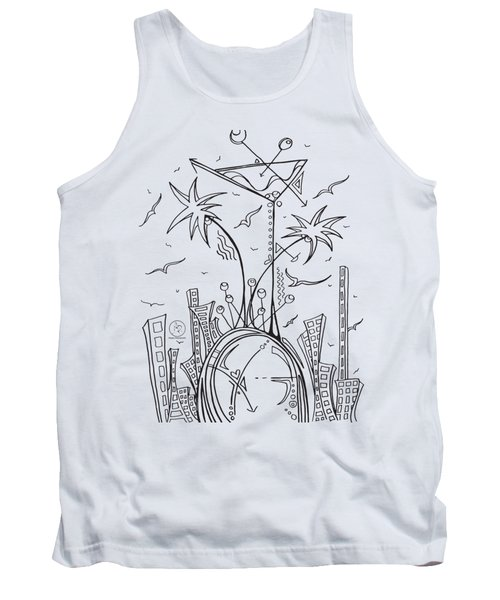 Coloring Page With Beautiful City Martini Drawing By Megan Duncanson Tank Top by Megan Duncanson