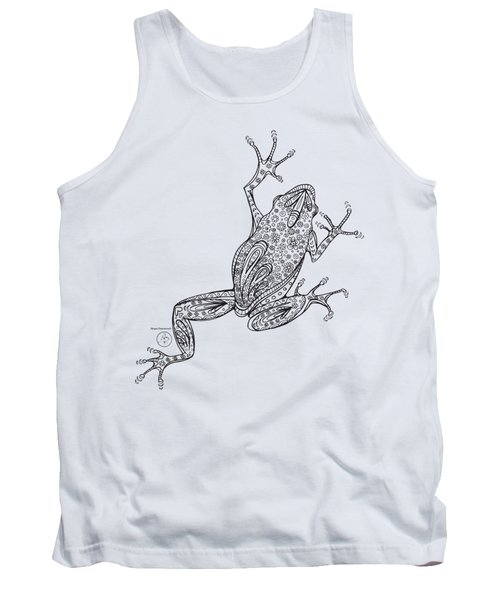 Coloring Page With Beautiful Frog Drawing By Megan Duncanson Tank Top by Megan Duncanson