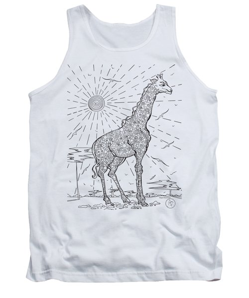 Coloring Page With Beautiful Giraffe Drawing By Megan Duncanson Tank Top by Megan Duncanson