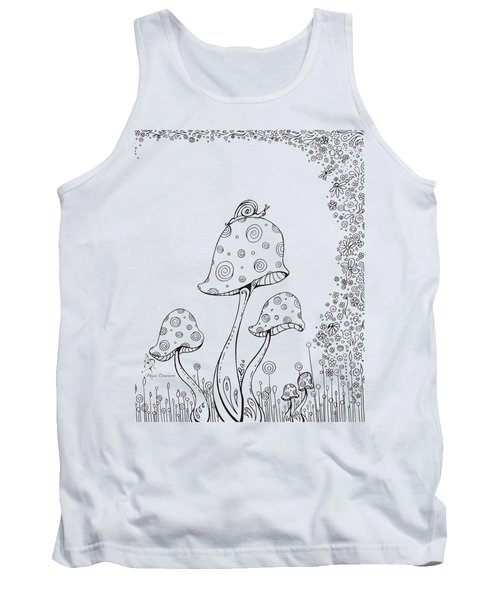 Coloring Page With Beautiful In The Garden 8 Drawing By Megan Duncanson Tank Top