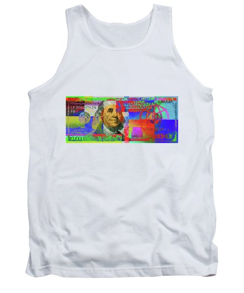 Colorized One Hundred U.s. Dollar Bill - Neo-expressionist $100 U S D Tank Top