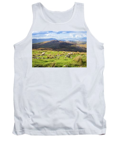Tank Top featuring the photograph Colourful Undulating Irish Landscape In Kerry With Grazing Sheep by Semmick Photo