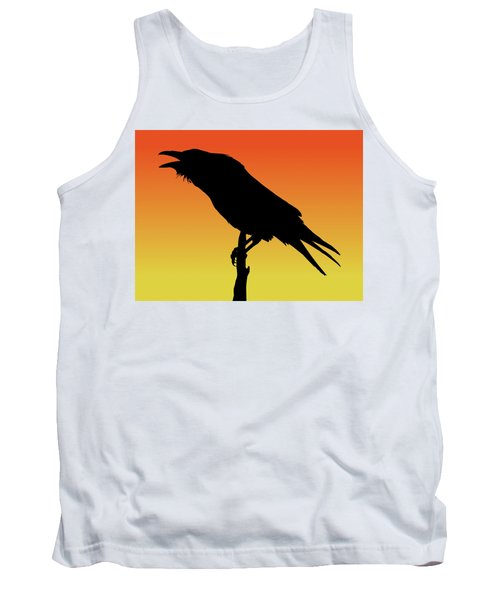 Common Raven Silhouette At Sunset Tank Top