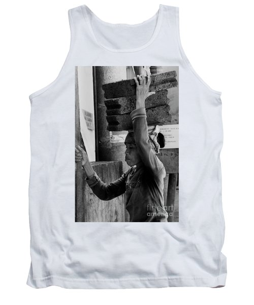 Tank Top featuring the photograph Construction Labourer - Bw by Werner Padarin
