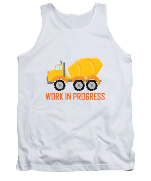 Construction Zone - Concrete Truck Work In Progress Gifts - Yellow Background Tank Top