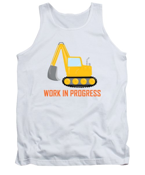 Construction Zone - Excavator Work In Progress Gifts - Yellow Background Tank Top