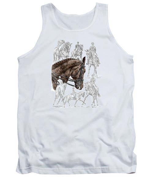 Tank Top featuring the drawing Contemplating Collection - Dressage Horse Print Color Tinted by Kelli Swan