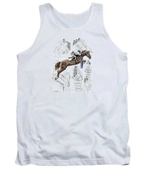 Tank Top featuring the drawing Contemplating Flight - Horse Jumper Print Color Tinted by Kelli Swan