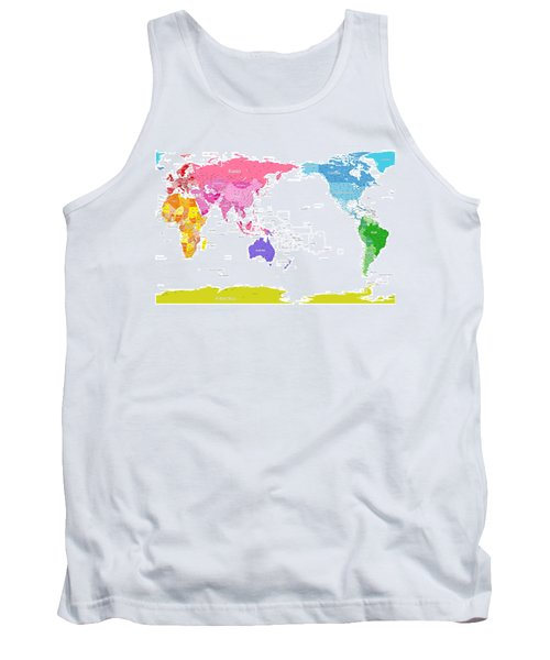 Continents World Map Tank Top