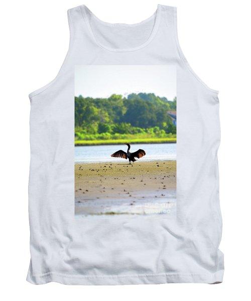 Cormorant At Topsail Beach Tank Top by Eva Kaufman