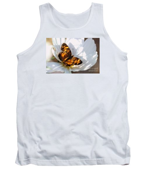 Pearl Crescent Butterfly On White Cosmo Flower Tank Top