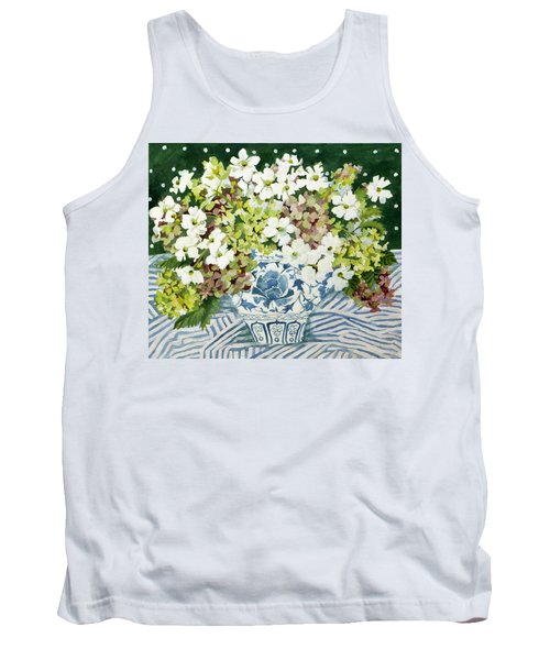 Cosmos And Hydrangeas In A Chinese Vase Tank Top