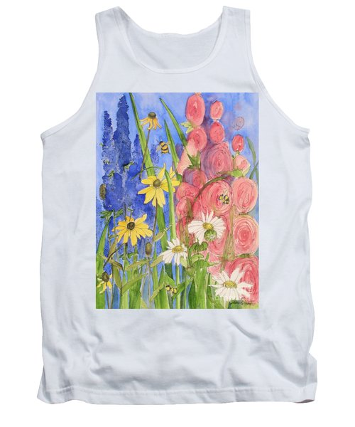 Tank Top featuring the painting Cottage Garden Daisies And Blue Skies by Laurie Rohner