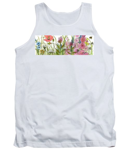 Cottage Hollyhock Garden Tank Top