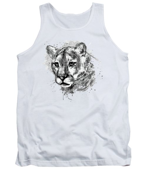 Tank Top featuring the mixed media Cougar Head Black And White by Marian Voicu