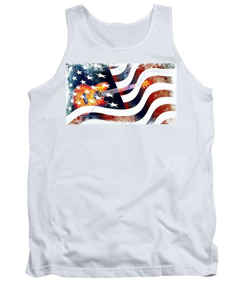 Country Music Guitar And American Flag Tank Top by Annie Zeno