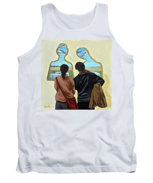 Tank Top featuring the painting  Couple With Their Heads Full Of Clouds by Linda Apple