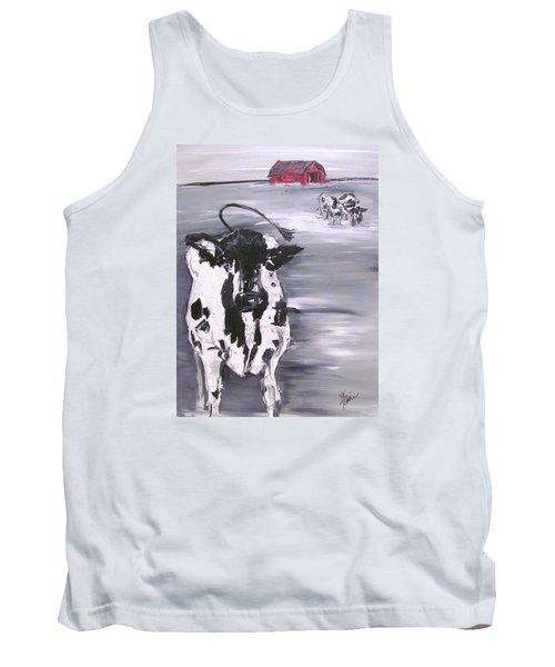 Cow In Winter Tank Top by Terri Einer