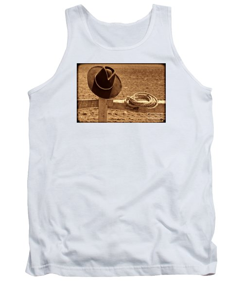 Cowboy Hat And Rope On A Fence Tank Top by American West Legend By Olivier Le Queinec