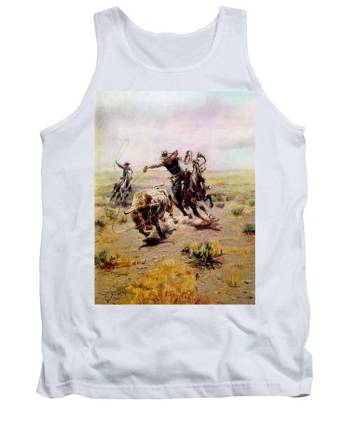 Cowboy Roping A Steer Tank Top