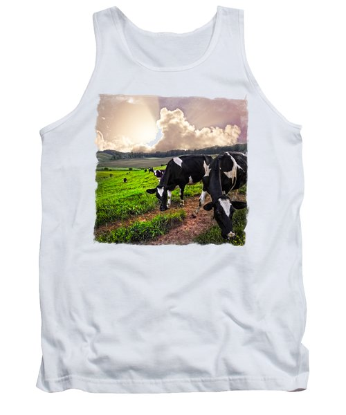 Cows At Sunset Bordered Tank Top
