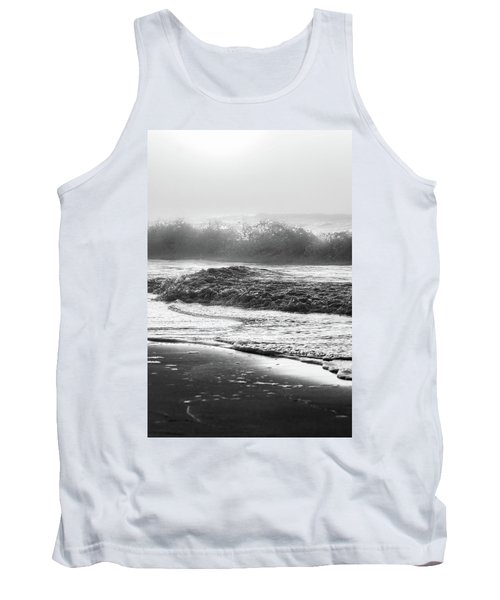 Tank Top featuring the photograph Crashing Wave At Beach Black And White  by John McGraw