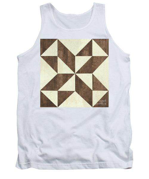 Tank Top featuring the painting Cream And Brown Quilt by Debbie DeWitt