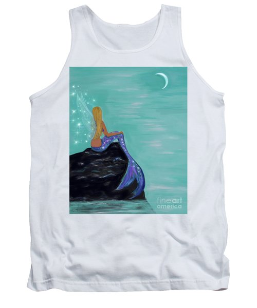 Tank Top featuring the painting Crescent Mermaid Moon Fairy by Leslie Allen
