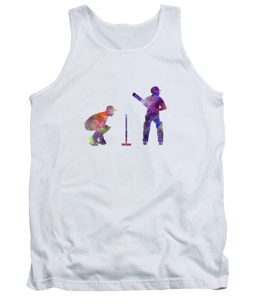 Cricket Player Silhouette Tank Top