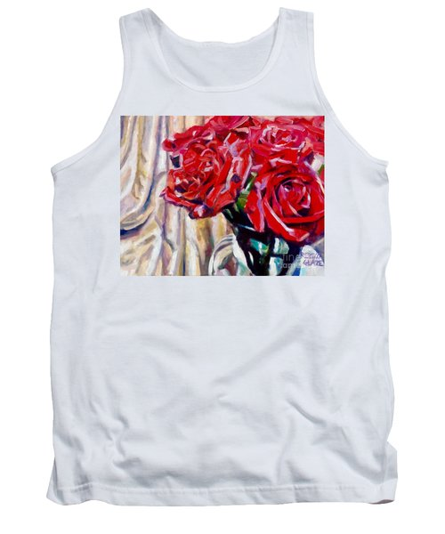 Tank Top featuring the painting Crimson  Petals by Rebecca Glaze