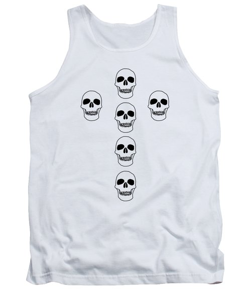 Cross In Skulls Clothing And Decor Tank Top by Linsey Williams