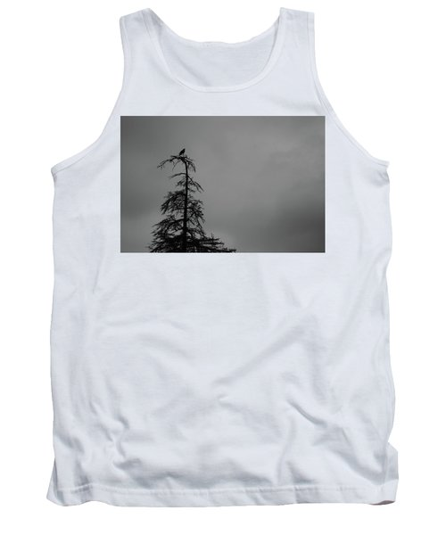 Crow Perched On Tree Top - Black And White Tank Top