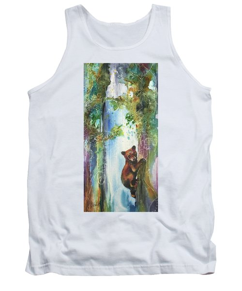 Tank Top featuring the painting Cub Bear Climbing by Christy Freeman