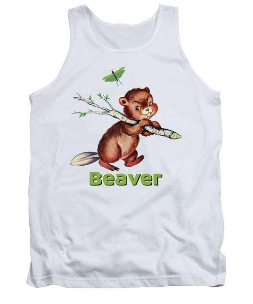 Cute Baby Beaver Pattern Tank Top