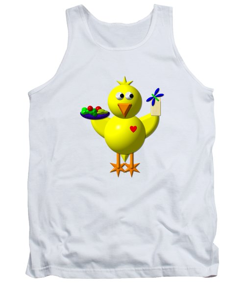 Cute Canary With Salad And Milk Tank Top by Rose Santuci-Sofranko