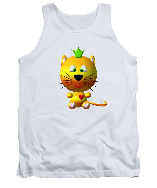 Cute Cat With Crown Tank Top by Rose Santuci-Sofranko