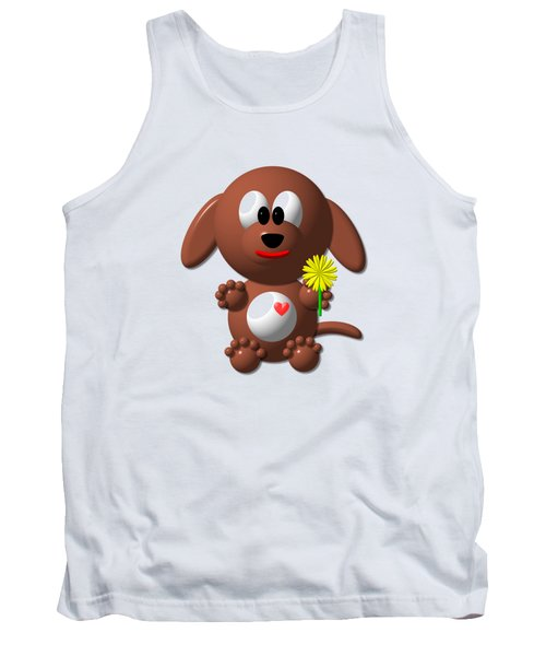 Cute Dog With Dandelion Tank Top