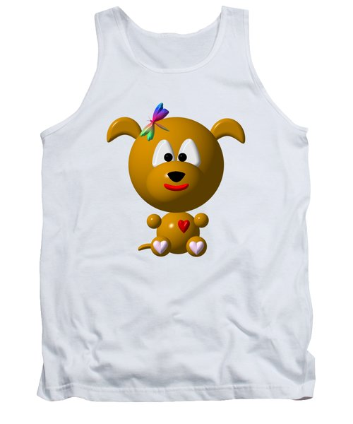 Cute Dog With Dragonfly Tank Top by Rose Santuci-Sofranko