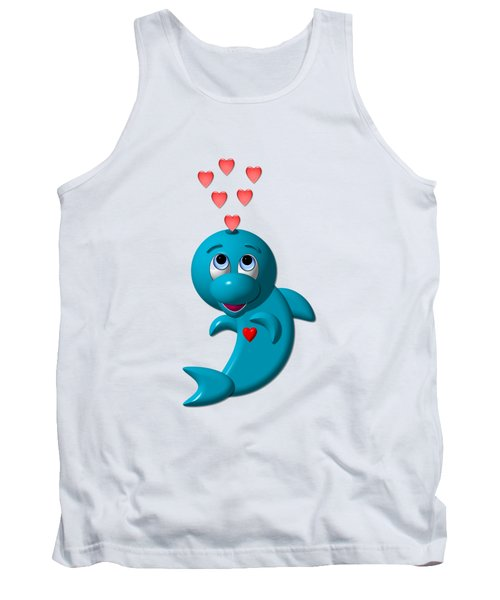 Cute Dolphin With Hearts Tank Top by Rose Santuci-Sofranko