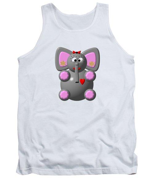 Cute Elephant Wearing Earrings Tank Top by Rose Santuci-Sofranko