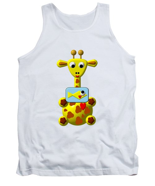 Cute Giraffe With Goldfish Tank Top by Rose Santuci-Sofranko