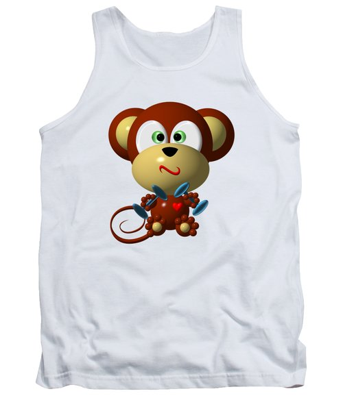 Cute Monkey Lifting Weights Tank Top