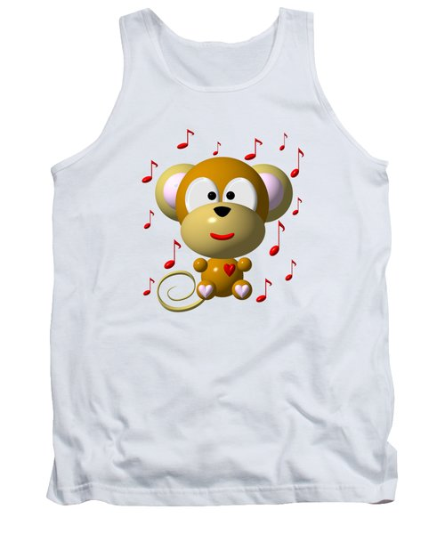 Cute Musical Monkey Tank Top by Rose Santuci-Sofranko