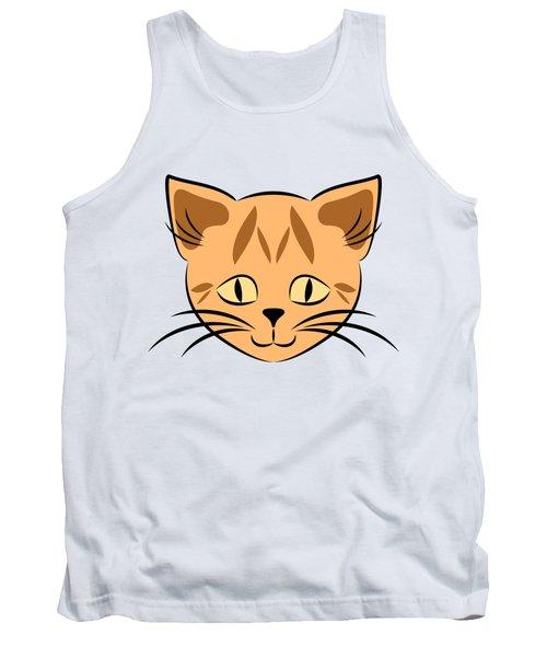 Cute Orange Tabby Cat Face Tank Top
